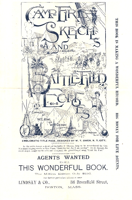 "Image for PRINTED ADVERTISEMENT SEEKING: ""AGENTS WANTED TO SELL THIS WONDERFUL BOOK:  'CAMP FIRE SKETCHES AND BATTLEFIELD ECHOES OR 61-5' THE MILLION EDITION ONLY $1.95"""